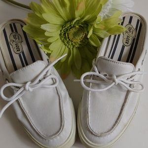 EUC Sperry Topsider canvas mules